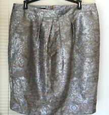 Jones New York Skirt Size 12 MSRP $119 Knee-Length Silver Metallic Polyester