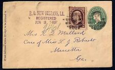 US 1889 TWO CENTS POSTAL COVER NEW ORLEANS UPRATED 10 CENTS Sc 187 TO MARIETTA