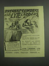 1953 Lyte Ladders Ad - Everest climbers use Lyte ladders