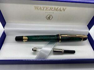 Waterman Phileas Fountain Pen Green Marble Gold Trim Fine