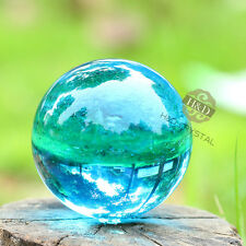 Asian Rare Natural Quartz Sea Blue Magic Crystal Healing Ball Sphere 40mm +Stand