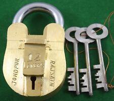 Heavy Brass Big size Indian Padlock 3 key 12 lever Tough High Quality. i42-92 US