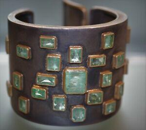 Armreif mit Smaragd  Silber 925 Gold 900   signiert   Engel/Heller  Unikat