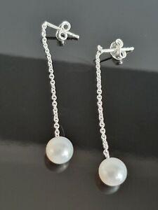Najo Linger Freshwater Pearl Sterling Silver Drop Stud Earrings E5671 Free Post