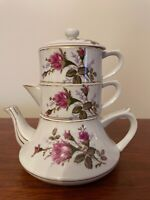 Vintage Stackable China Teapot Set  - Teapot Creamer Sugar Bowl Lid  Pink Roses