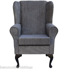 Wing Back Fireside Armchair Small Westoe Orthopaedic in Topaz Slate Fabric