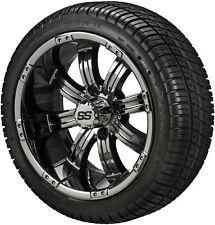 4 Golf Cart 205/30-14 Tire on a 14x7 Black Mirror Chrome Casino Wheel