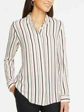 NEW ANN TAYLOR White Black Soft Button Down Career Striped Blouse Shirt Top MD M
