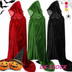 Halloween Adult Kids Hooded Robe Cloak Cape Velvet Party Vampire Cosplay Costume