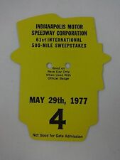 1977 Indianapolis 500 Back Up Card # 4 for Pit Badge Credential IndyCar Indy500