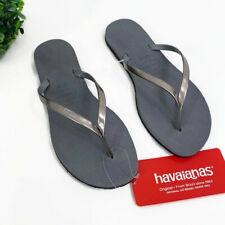Havianas Womens Size 6 Wide Flip Flops Steel Gray Metallic Silver Straps NEW
