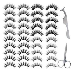 20 Paar Selbstklebende Künstliche Wimpern für Frauen mit Schere und Pinzette