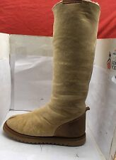 SKINNY'S WOMENS BEIGE SHEEPSKIN KNEEHIGH BOOTS SUEDE HEEL SIZE 6 MEDIUM