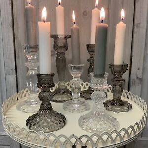 Glass Cut Candlestick Dinner Candle Holder Vintage French Country Grey Smoke