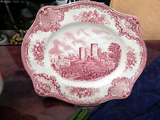 edle Platte Servierplatte 28,5 cm Johnson Bros England Old Britain Castles rot