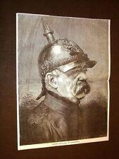 Raro ritratto dello statista di Germania Otto von Bismarck nel 1878
