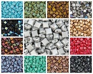CHOOSE COLOR! 50 pcs WibeDuo® Beads, 8x8 mm,2-Hole, Czech Glass