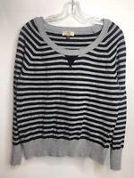 L.E.I. JRXXL Long Sleeve Black & Gray Striiped Lightweight Sweater Metallic NWOT