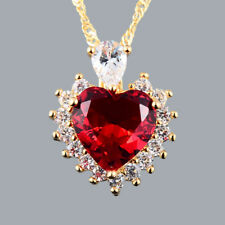 Christmas Lady Jewelry **Heart Cut Red Ruby Pendant Necklace Jewellery Chain