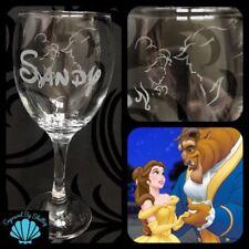 Beauty & The Beast Personalised Disney Wine Glass Handmade Gift Birthday Xmas