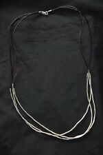 "SILPADA - N2196 - SS Tubes Black Brown Leather ""Silver Flash"" Necklace - RET"