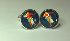 Vintage style Rugger Poster Glass Domed cufflinks, rugby union, sports,