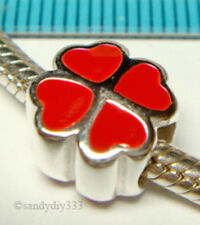 1x STERLING SILVER RED HEART 4 LEAF CLOVER EUROPEAN BRACELET CHARM BEAD J138