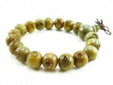 Fragrant 19 10mm Green Sandalwood Carved Buddha Prayer Beads Wrist Mala Bracelet