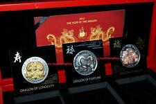 Rwanda 2012 3 x 500 Francs  Dimensional Dragon Coin Set BU Silver Uncirculated