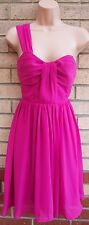 NEW LOOK MAGENTA PINK FUCHSIA ONE SHOULDER SKATER FLIPPY PARTY PROM DRESS 8 S