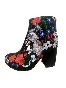 New Women's Embroidery Black Heels Floral Chunky size 8 red ankle booties