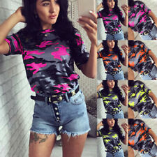 Camouflage Blouse Short Sleeve Tops & Shirts for Women