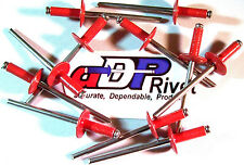 "Aluminum pop rivets 1/8""dx1/4""grip Large 3/8""hd=100ea ABA44L RED made in USA"