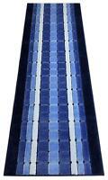 Custom Size Squares Blue indoor Runner Rug Soft Non Skid Slip Resistant 26 Wide