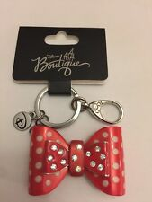 New Disney Parks Boutique Minnie Mouse Bow Polkadot Rhinestone Keychain