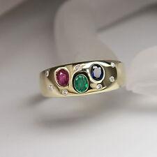 Ring mit ca. 0,14ct Diamant und Saphir-Rubin-Smaragd in 585/14K Gelbgold