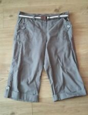 Ladies Authentic Pastel Brown Grey Cotton Belted  Capri Trousers size 14