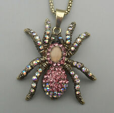 Women's Pink AB Crystal Rhinestone Spider Pendant Betsey Johnson Long Necklace