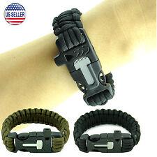 Outdoor Survival Paracord Bracelet Fire Starter Whistle Scraper Camping Gear
