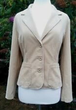 East Women's Cord Blazer Jacket Size 14 Beige Corduroy Fitted Buttons Pockets