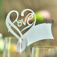 72pcs Silver Paperboard Love Shape Glass Place Name Cards Wedding Party Decor