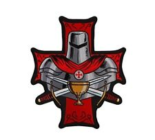 "(C38) KNIGHTS TEMPLAR HOLY GRAIL CHRISTIAN 3.5"" x 4"" iron on patch (5988)"