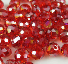 148pc 3x4mm Faceted Rondelle Crystal Glass Loose Spacer Beads Red AB