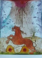 "RENE CARCAN ""Cosmic Forces The Lion"" HAND SIGNED Aquatint Etching Belgium Artist"