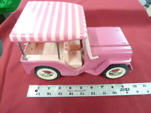 """Tonka JEEP in pink with surrey top...copy of the ELVIS jeep  in """" BLUE HAWAII """""""