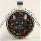 """BLACK CAT FACE HALLOWEEN GREEN EYES  pendant 18"""" Sterling Silver 925 necklace"""