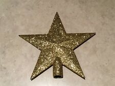 Miniature Feather Tree Christmas Star Topper w/ Gold Glitter
