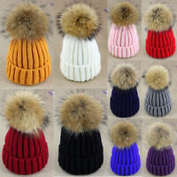 Beanie Raccoon Fur Pom Ball Bobble Hat Warm Wool Knit Lady Women Crochet Ski Cap