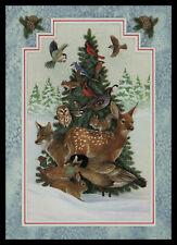 J712-MSA Bird Deer Rabbit Squirrel Wolf Christmas Embossed Greeting Card VINTAGE