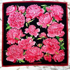 vintage HERMES red pink silk scarf Les Pivoines by Christiane Vauzelles 1978